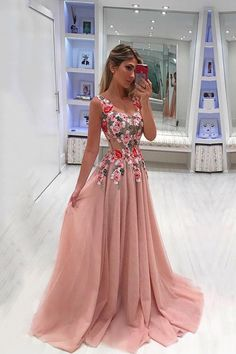 A Line Broad Straps Floral Appliqued Prom Dress, Cheap Long Tulle Evening Dresse. - A Line Broad Straps Floral Appliqued Prom Dress, Cheap Long Tulle Evening Dresses – Okdresses Source by mosafer - Pink Prom Dresses, A Line Prom Dresses, Tulle Prom Dress, Cheap Prom Dresses, Homecoming Dresses, Dress Up, Party Dress, Maxi Dresses, Dance Dresses