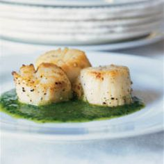The garlicky pesto is a perfect match for sweet, silky scallops.