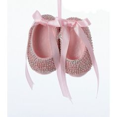 """2.5"""" Pretty in Pink Pair of Baby Girl Shoes with Rhinestones Christmas Ornament"""