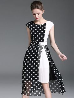 Polka Dot O-Neck Sleeveless Slit Skater Dress - - Trendy Dresses Elegant Dresses, Beautiful Dresses, Casual Dresses, Short Dresses, Halter Dresses, Trendy Dresses, Silk Dress, Dress Skirt, Women's Fashion Dresses