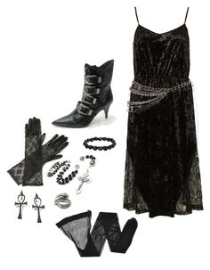 """""""Gothic Ethereal Danse Club"""" by unfiltrd ❤ liked on Polyvore featuring Max and Cleo, Topshop, Bjørg, Giorgio Armani, lace, goth, velvet, tradgoth and deathrock"""