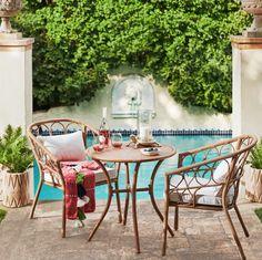 Britanna Patio Bistro Set - Natural/Linen - Opalhouse™ - Home Decor - Wicker Patio Furniture, Patio Chairs, Outdoor Furniture Sets, Outdoor Decor, Outdoor Ideas, Poolside Furniture, Pergola Patio, Patio Dining, Pergola Kits