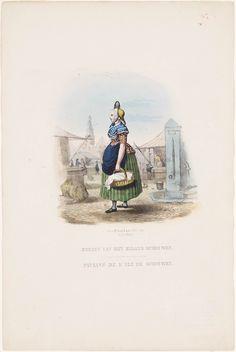 Boerin van het eiland Schouwen / Paysane de l'île de schouwen kunstenaar: Last, Hendrik Wilhelmus uitgever: Lier, D. van 1850 #SchouwenDuiveland #Zeeland