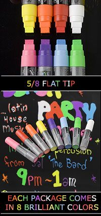 Neon Liquid Chalk to draw on wine glasses
