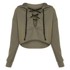 Saige Khaki Lace Up Cropped Hoodie ❤ liked on Polyvore featuring tops, hoodies, brown top, lace up hoodie, hooded sweatshirt, sweatshirt hoodies and brown hooded sweatshirt