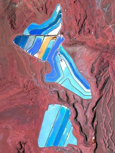Evaporation ponds at a potash mine in Moab, Utah, are dyed blue to quicken the evaporation of salts used in fertilizer.