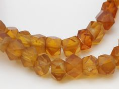 Antique Czech special glass Bead Faceted hexagonal 13mm Strand is 44.5 inches