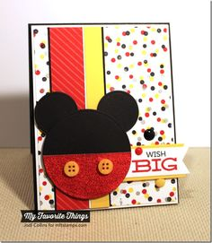 I would replace the die cut with an actual Mickey Mouse stamp or sticker…but I love the paper, layout, and colors