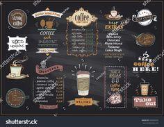 Chalkboard coffee and desserts menu list designs set for cafe or restaurant. Menu Café, Menu List, Cafe Menu Design, Food Menu Design, Menu Desserts, Cafe Menu Boards, Cafeteria Menu, Coffee Shop Menu, Coffee Stock