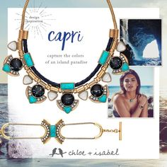 The Capri Collection:                                                                    The Convertible Statement Necklace with adjustable sliding closures to allow you to wear as a collar or a drop necklace. Mother of pearl inlay, marbled black stone crystal pave, navy leather & suede.                                                                                     Capri Toggle Bracelet: Faceted turquoise center and a crown of crystals…