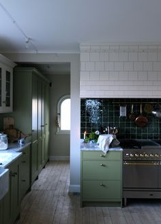 Green tiles fit perfectly to the khaki green cabinets in awesome kitchen by You can also watch a movie about how the kitchen was created👍🏻💚 Have a nice weekend! Shaker Kitchen, Rustic Kitchen, Kitchen Dining, Kitchen Decor, Rustic Room, Simple Interior, Home Interior, Kitchen Interior, Black Kitchens