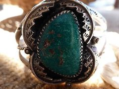 Vintage NAVAJO OLD PAWN Signed Sterling Silver Turquoise cuff bracelet 38gram's