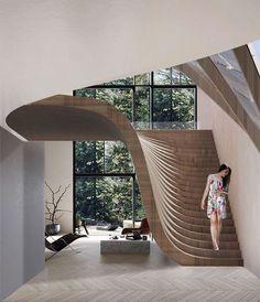 impressive staircase design inspirations for your house 19 Interior Design Inspiration, Home Interior Design, Interior Decorating, Design Ideas, Staircase Interior Design, Stairway Decorating, Interior Garden, Luxury Interior, Interior Ideas