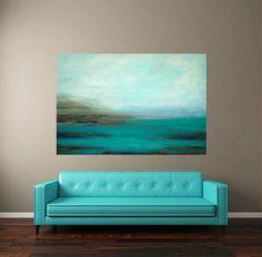 Acrylic Abstract Painting Fine Art Turquoise by OraBirenbaumArt, $850.00:
