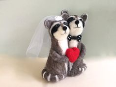Needle felted Raccoon wedding cake topper bride and by Felt4Soul