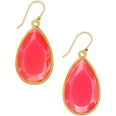 kate spade new york Gold-Tone White Epoxy Teardrop Earrings ($32) ❤ liked on Polyvore featuring jewelry, earrings, accessories, neon pink, kate spade, kate spade earrings, tear drop earrings, gold tone jewelry and teardrop shaped earrings