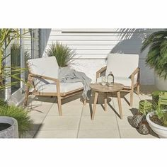 KINGSTON 3PC SET  Eucalyptus (FSC 100%) coffee table with 2 chairs. Bbq Area, Outdoor Furniture Sets, Outdoor Decor, Kingston, 3 Piece, Outdoor Living, Deck, Lounge, Patio