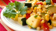 This mixture of zucchini, corn, tomatoes, and poblano pepper can be served as a side dish or eaten with warm tortillas as a main course.