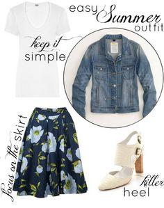 floral skirt / denim jacket