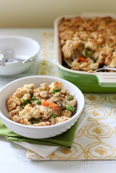 Chicken Pot Pie with Biscuit Crumble Topping