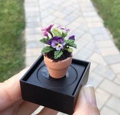 Purple-amp-Lavender-Pansies-Plant-in-Clay-Pot-Dollhouse-Miniature-Flowers