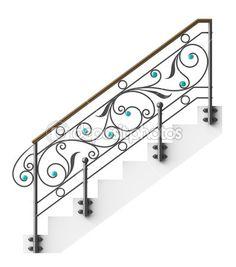 Corrimão de escadas de ferro com vidro insere