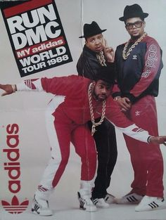 Run DMC 1988 world tour – . Hip-Hop style included track suits, sportswear brand… Run DMC 1988 world tour – . Hip-Hop style included track suits, sportswear brands like ADIDAS and Nike, Kangol hats, and gold chains and rings. Hip Hop Fashion, 80s Fashion, Trendy Fashion, Trendy Style, Arte Hip Hop, Hip Hop Art, Run Dmc, Vintage Sportswear, Sportswear Brand