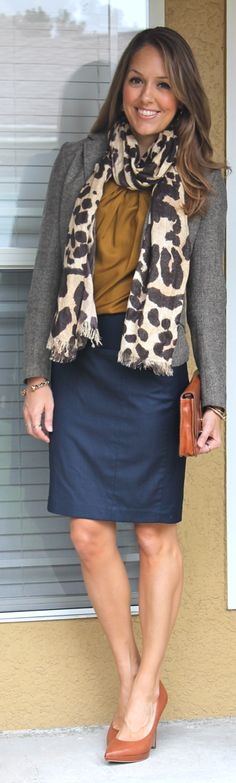 Tweed Blazer+Navy Skirt+Mustard Silk Top+Patterned Scarf