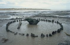 HOLME BEACH, ENGLAND—A second Bronze Age timber circle preserved in salty silt on a beach in eastern England has been dated with dendrochronology to the same summer as its neighbor, Seahenge, whose 55 posts surrounded the upended stump of an oak tree.