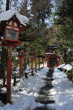 Snow in Kibune Shrine, Kyoto, Japan: