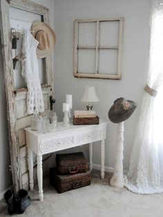 Always a huge fan of repurposed doors and windows as decoration. Here they use both and it's absolutely gorgeous. Totally loving the shabby chic.