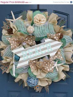 CIJ Sale Beach/Summer deco mesh wreath by WonderfulWreathsKim, $100.00