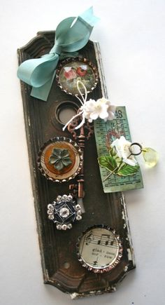 """Vintage hardware embellished with even more vintage! Functional too-the """"buttons"""" are magnets!"""