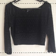 Forever 21 Black Crop w Pattern See Through , L Black crop w triangular see through pattern throughout. , very cute over Camisole , crop top by Forever 21 L Forever 21 Tops Crop Tops