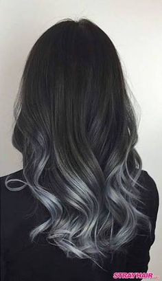 Our trending black to grey balayage ombre shade blends easily in to black hair, resulting in an overall sizzling hot and natural and current ombre look. It works on gray hair. Balayage is a smart solution for gray hair because it . Blonde Balayage Highlights, Black Hair With Highlights, Balayage Hair, Partial Highlights, Balayage Color, Partial Balayage, Color Highlights, Silver Grey Hair, Black To Silver Ombre