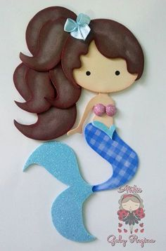 Eu Amo Artesanato: Sereia com molde Kids Crafts, Foam Crafts, Summer Crafts, Diy And Crafts, Paper Crafts, Mermaid Crafts, Mermaid Birthday, Felt Ornaments, Paper Piecing