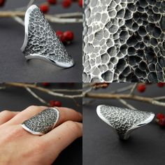 Bites Sterling silver cast ring made to order by LucieVeilleux, $135.00