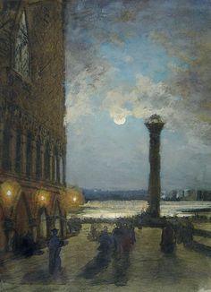 The Athenaeum - Night in Venice (Alexei Bogoliubov - ) Moonlight Painting, Great Artists, Venice, Night, Vintage, Art Nature, Italia, Venice Italy, Vintage Comics