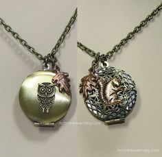 Reversible Squirrel Owl Necklace Brass Locket Gold by AcornHeaven, $25.00