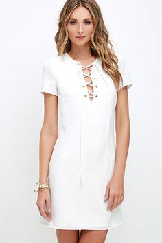 Ante-Up Ivory Lace-Up Dress at Lulus.com!