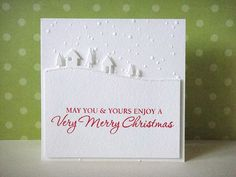 Donna Mikasa/Hero Arts. Very Merry Christmas.  Materials used: Very Merry Christmas stamp, Memory Box Country Landscape die, Cuttlebug embossing folder.