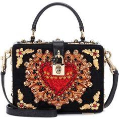 Dolce & Gabbana Dolce Box Embellished Shoulder Bag (125 215 UAH) ❤ liked on Polyvore featuring bags, handbags, shoulder bags, black, embellished handbags, shoulder bag handbag, embellished purse, shoulder hand bags and shoulder bag purse