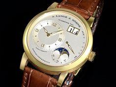 """Armbanduhr: A. Lange & Söhne Herrenuhr """"Lange1 Mondphase"""", nahezu neuwertig mit Box und Papieren (K"""