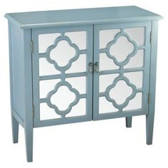Check out this item at One Kings Lane! Sayre Two Door Mirrored Cabinet, Blue