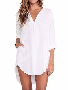e3a9d537e24af1 ZANZEA Women s Sexy Casual Chiffon V Neck Long Sleeve Swallow Tail Loose  Blouse Tops Shirt  Amazon.co.uk  Clothing