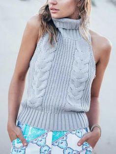 Turtleneck Backless Sweater Vest