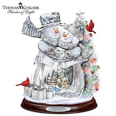 Thomas Kinkade Hugs For The Holidays Crystal Snowman Sculpture
