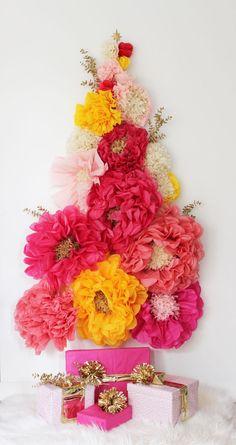 Poppytalk: DIY | A Floral Wall Holiday Tree + Paper Flower Tutorials