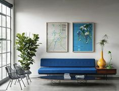 Plants for texture, clean whites for a base, splashes of cobalt and yellow. // B L O O D A N D C H A M P A G N E . C O M: