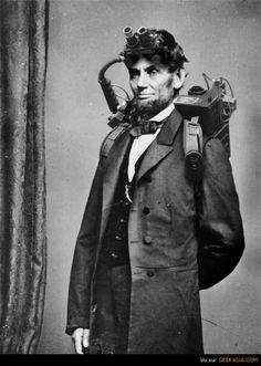 An extremely rare photograph of President Abraham Lincoln taken during his brief yet memorable stint as a paranormal investigator and eliminator circa how cool is that? Paranormal investigator/ghostbuster, or Vampire Slayer?